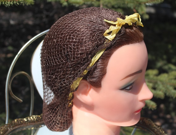 NOS 1930s 40s Art Deco WW2 Vintage Hair Net Veil B