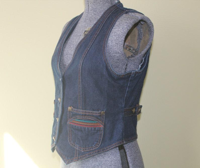 1970s 80s S M Pentimento Western Ranch Hippie Disco Hipster Preppy Multi Color Cotton Denim Jean Button Vest Top Women/'s Clothing Vintage