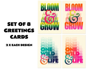 SET OF 8 Greetings Cards
