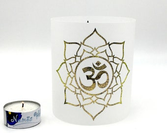 Yoga Light Om Lotus Blossom gold Meditation Gentle Light Colorful Gift Windlight Paper Blossom of Life