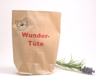 """Set gift bag made of kraft paper with red inscription """"miracle bag"""" cat and gift tag made of paper with cord in red and white"""
