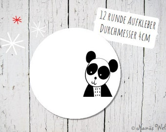 Round paper stickers for self-labeling with panda in black and white 4 cm