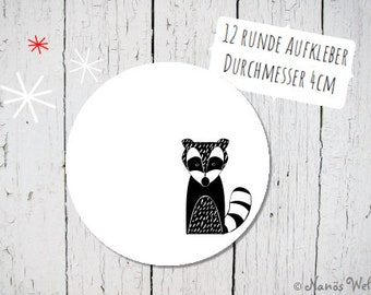 Round paper stickers for self-labeling with cute badger in black and white 4 cm