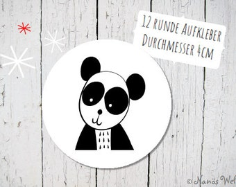Round paper stickers with panda in black and white 4 cm