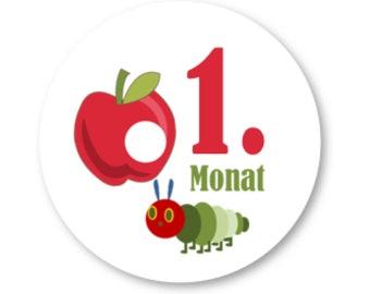 12 Month Stickers Caterpillar Apple Stickers Milestones Baby