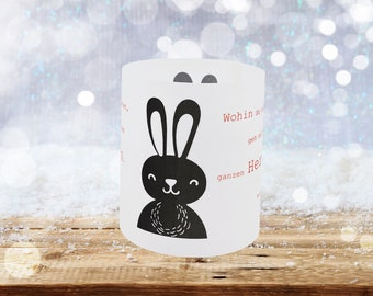 """Rabbit on wintry lantern with saying """"Wherever you go, go with all your heart."""" Confucius"""