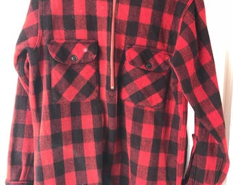 Vintage 1930s/40s Buffalo Plaid Wool Pullover Work Shirt Half Zip