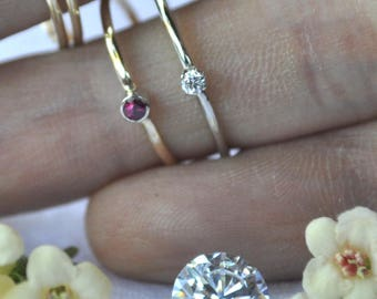 Solid 14k 14kt  rose white yellow gold birthstone ring January February March April May June July August September October November December
