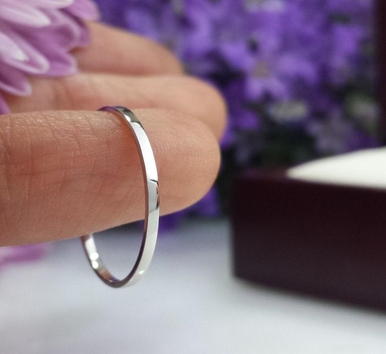 Thin Platinum wedding band 1mm 2mm Hammered comfort fit matte satin domed flat thin platinum band slim platinum ring slim skinny custom