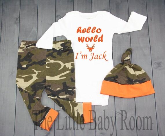Tenue garçon Coming Home ensemble, Bonjour monde Im * nom, rentrer à la maison, Camo, armée, chasse, vêtements pour bébés, autoriserez-vous Oneise, Orange, legging, chapeau, cadeau, hôpital