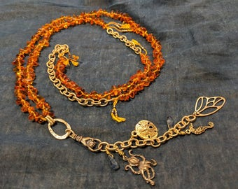 Handmade Long Amber and Kyanite Necklace