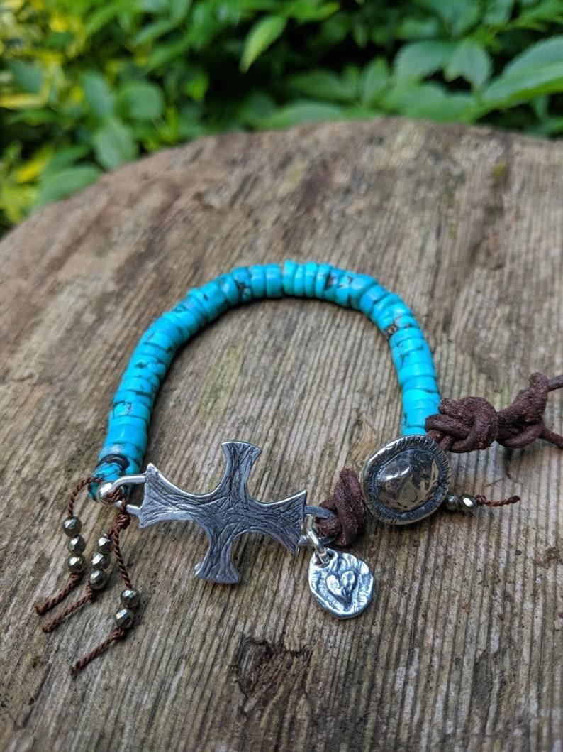 Artisan Jewelry Blue Turquoise Bracelet Boho Bracelet Rustic Bracelet Chunky Turquoise Bracelet Medieval Bracelet Turquoise Bracelet