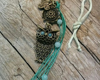 Handmade Boho Owl Pendant with Amazonite Gemstone