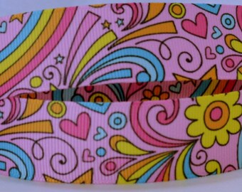 "Pink Rainbows Flowers Retro Floral Swirls Art Clouds Printed Grosgrain Ribbon 7/8"" Scrapbooking HairBows RP010518"