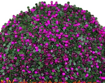 1440pc Purple Round Iron On Mini Tiny Flatback Resin Rhinestones Cab Nail Art 1.9 MM PR0517
