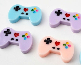 Video Game Controller Purple Blue Peach Colored Resin Plastic Kawaii Decoden Kitsch Flatbacks Cabochons 060116