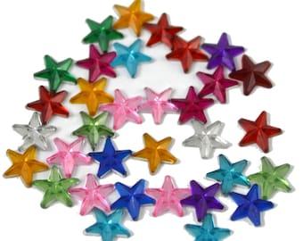 20g Mini Sterne bunte klaren Acryl Strass 10mm - 12 mm