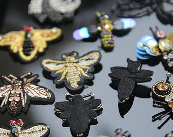 "ACT//GB143 Black Silver Metallic Embroidered Jewel Applique Iron On 2.5/"""