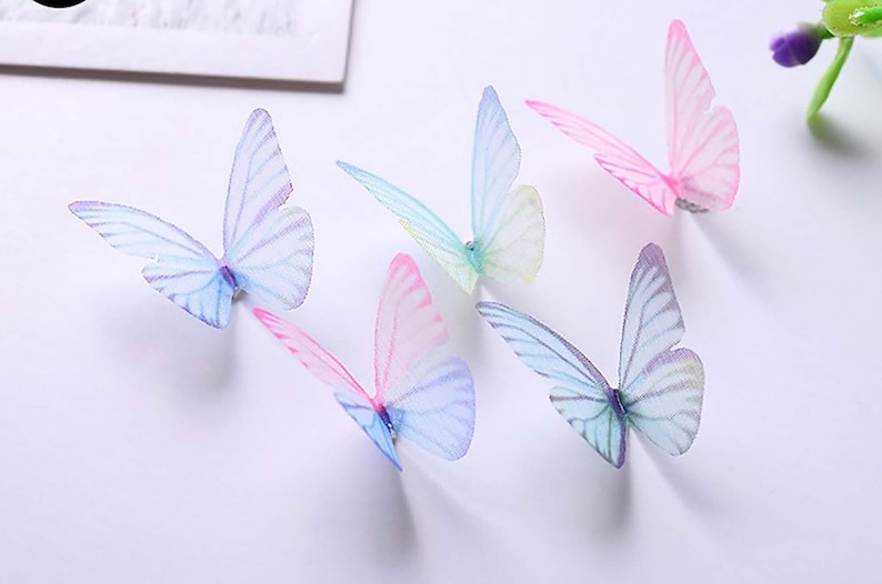 5Pc 3D Butterflies Sheer multicolored 3cm decor party supplies image 0