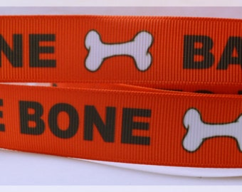 "Bad to the Bone Dog Puppy Paws Bones Printed Grosgrain Ribbon 7/8"" Scrapbooking Hair Bows bb012318"