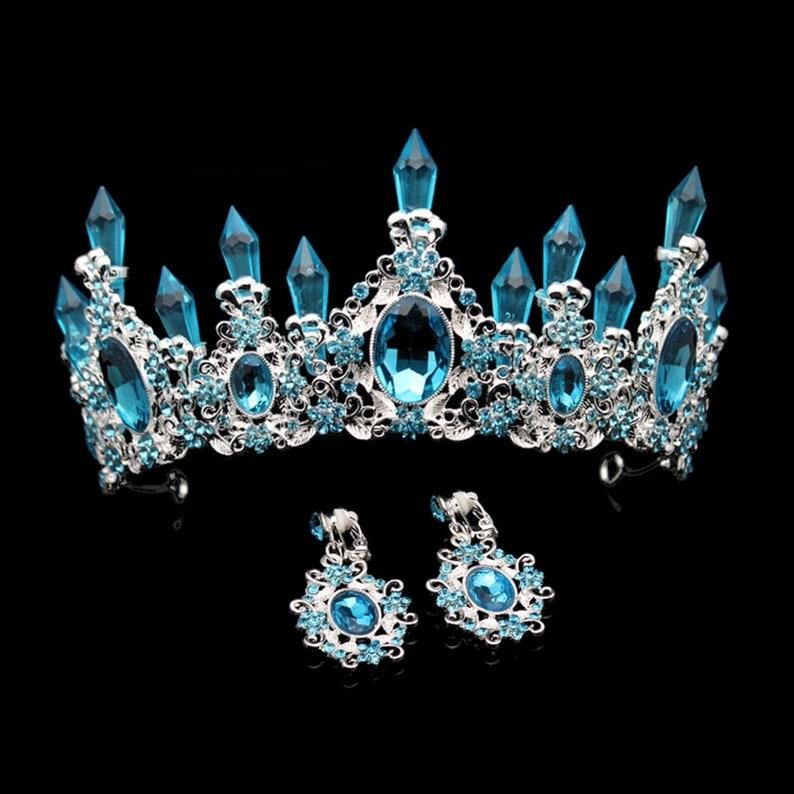 Light Blue Crystal Resin Quartz Mermaid Silver tone Tiara image 0