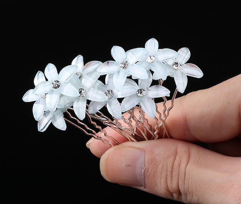 10 PC Light Blue Flower pins hairpins Wedding Bridal Party image 0