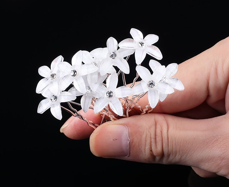 10 PC Clear White Flower pins hairpins Wedding Bridal Party image 0
