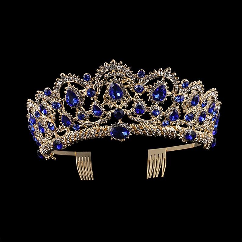 Blue Crystal Stones Elegant Gold tone metal Tiara Princess image 0