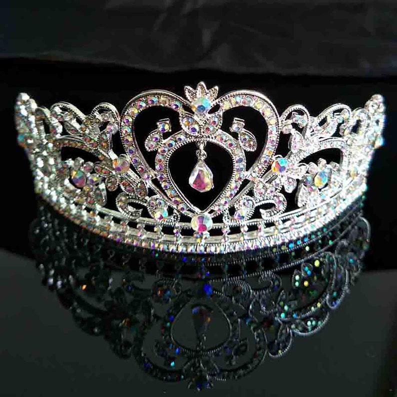 Crystal AB Rhinestone Silver tone Tiara Princess Prom Wedding Bridal Hair Jewelry Quinceanera Pageant headband Crown AB0921