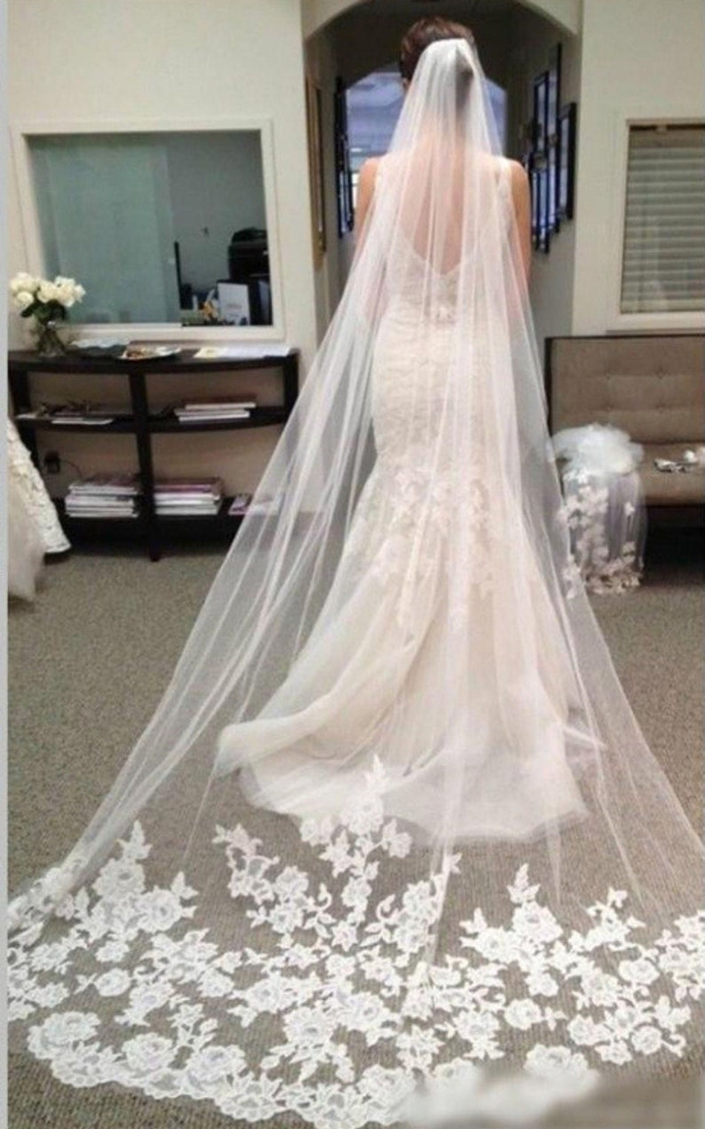 One Layer Long Elegant Floral Lace Cathedral Wedding Veil image 0