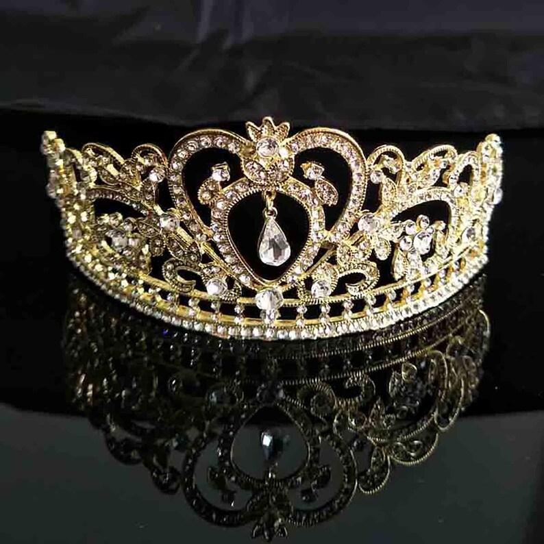 Clear Crystal Rhinestone Gold tone Tiara Princess Prom Wedding image 0