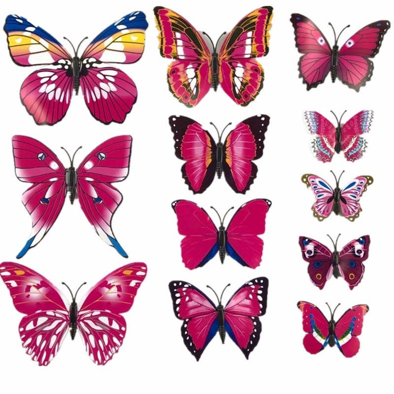 White Pink 12Pc 3D PVC Butterflies Wall Stickers Decoration image 0