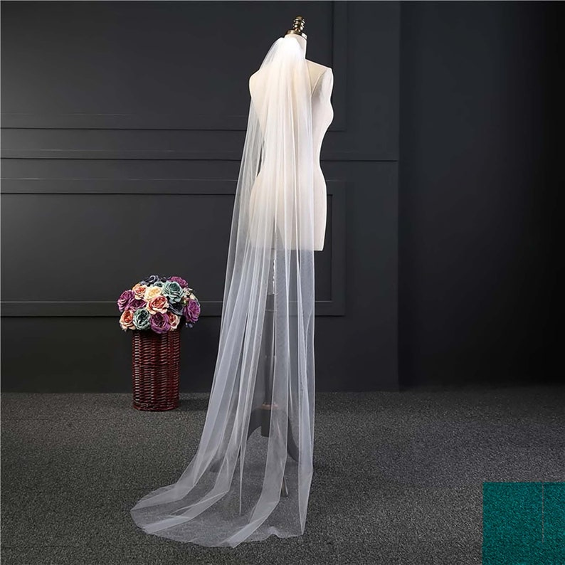 Long Elegant Lace Wedding Veil Bridal with Comb  Ivory or image 0