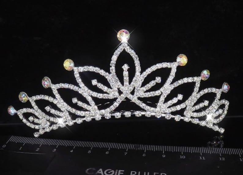 Clear Crystal Rhinestone Silver tone Comb Hair Tiara Princess image 0