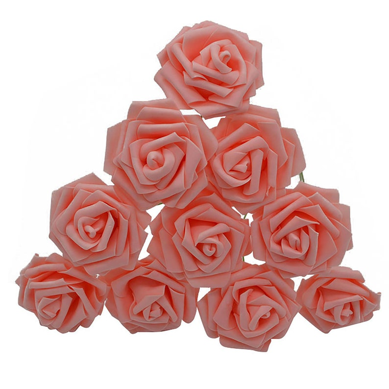 10pc Foam Flower Roses Assorted Colors Banquet Home Wedding image 0