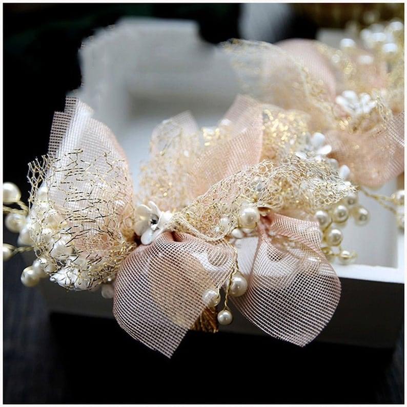 White Golden Pearl Flower Bead Leaves Gold tone Girl Ribbon Princess Prom Wedding Bridal Hair Pageant headband Crown WP0429