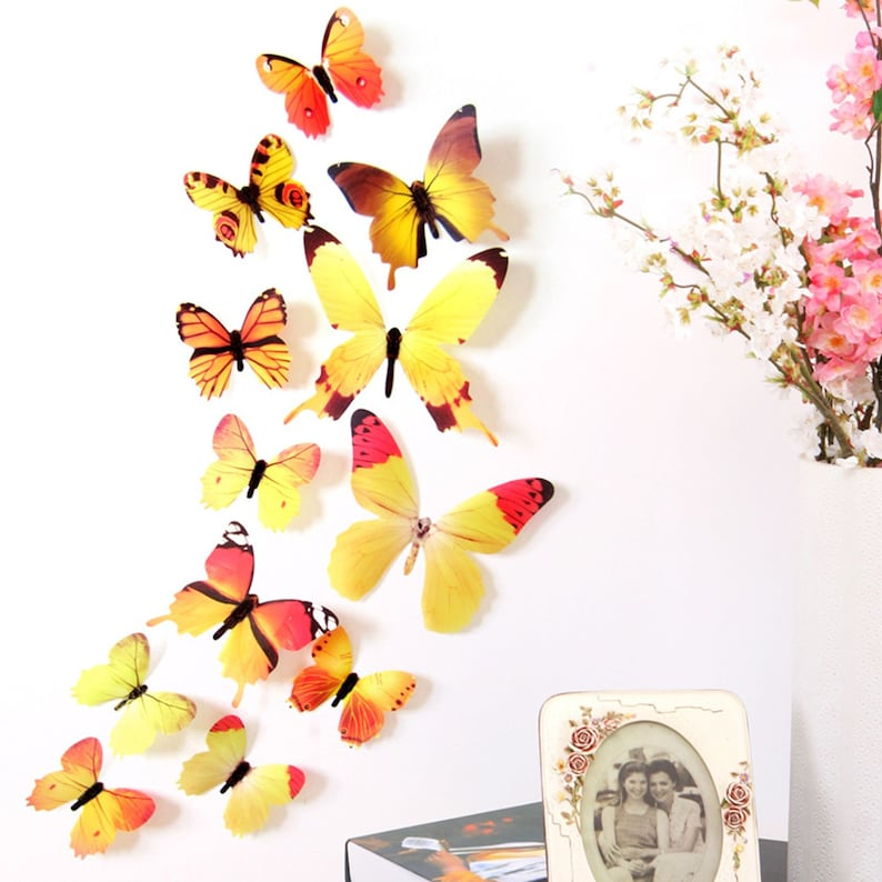 12Pc 3D PVC Butterflies Wall Stickers Decoration Wedding Cake image 0