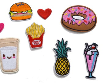 8 PC Assorted Fruit Food Hearts Shakes Donuts Iron On Patch Applique AF041717