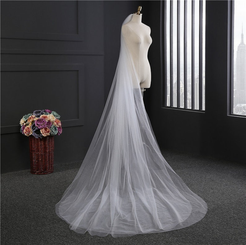 Two Layer Long Elegant Lace Cathedral Wedding Veil Bridal with image 0