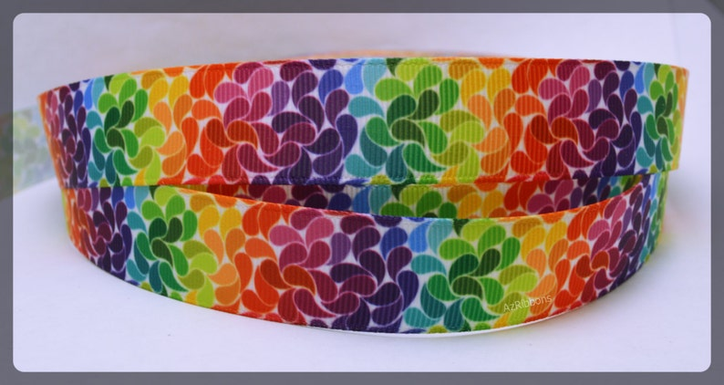 Rainbow Splashes Mosiac Colorful Artistic Swirls Printed Grosgrain Ribbon 78  Wide Scrapbooking HairBows Parties DIY Projects az245