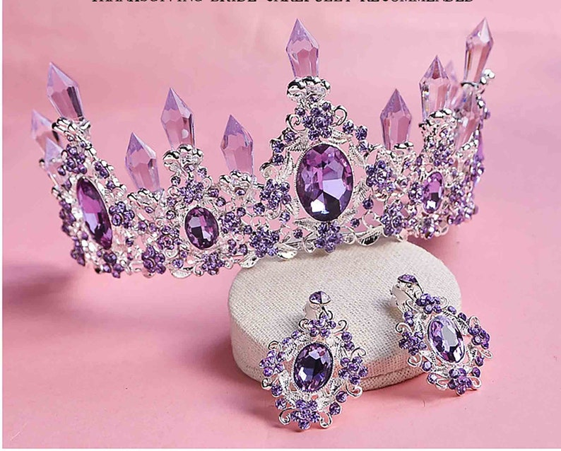Light Purple Crystal Resin Quartz Mermaid Silver tone Tiara image 0