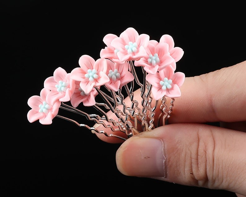 10 PC Light Pink Flower pins hairpins Wedding Bridal Party image 0