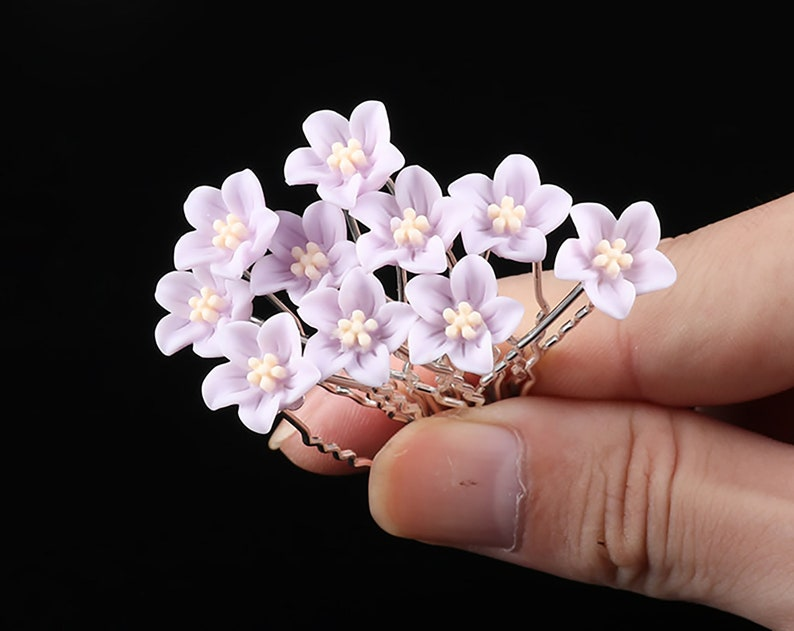 10 PC Light Purple Flower pins hairpins Wedding Bridal Party image 0