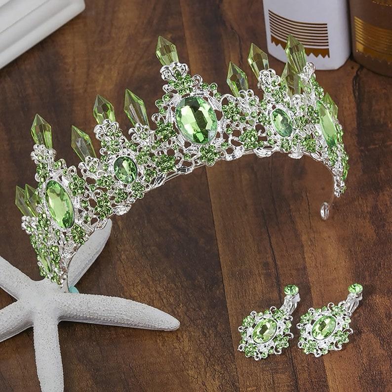 Light Green Crystal Resin Quartz Mermaid Silver tone Tiara image 0