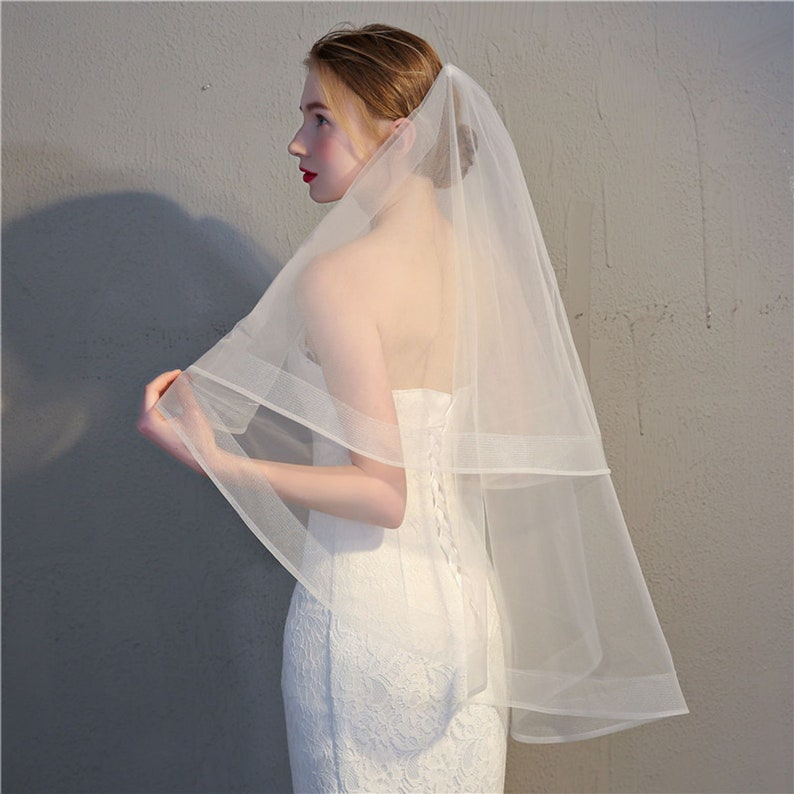 Two Layered Lace Wedding Veil Bridal with Comb  Ivory or image 0