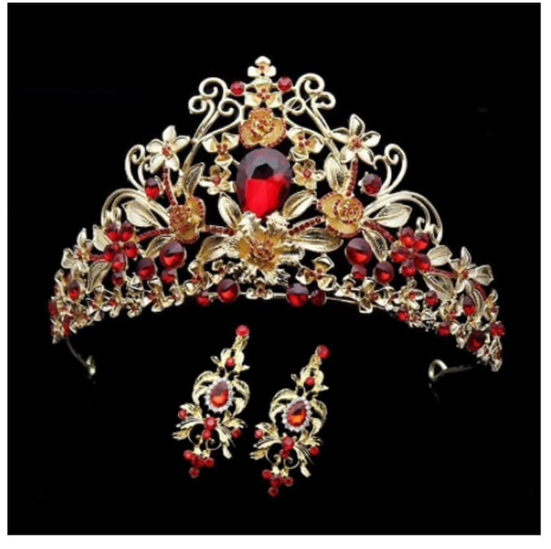 Red Clear Crystal Rhinestone Gold tone Tiara With Earrings image 0