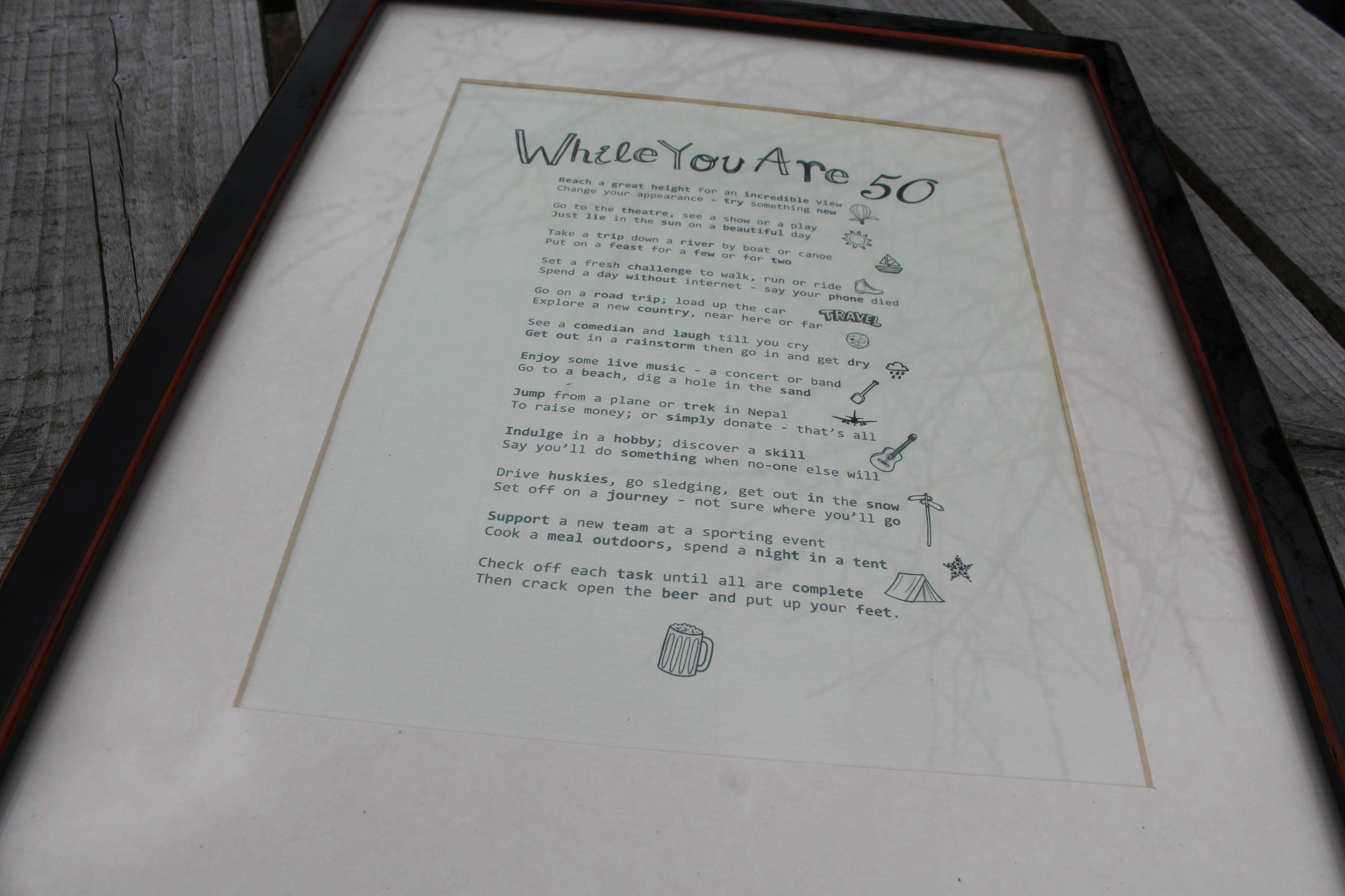 50th BIRTHDAY Male  A4 Poem Print  A fun, bucket list in verse of things to  do  FREE personalisation available