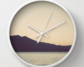 Wall Clock, Lake Tahoe, 10 inch Clock, Lake Sunset, California Decor, Round Clock, White, Natural, Black Clock