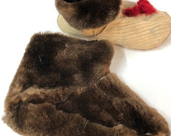 5a3b53f91d7a BEAVER River Otter fur BOOTS Socks Slippers for kids All Sizes Winter