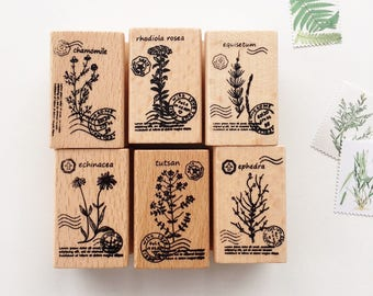 Botanical Rubber Stamp // Wooden Rubber Stamp